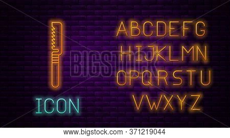 Glowing Neon Line Medical Saw Icon Isolated On Brick Wall Background. Surgical Saw Designed For Bone