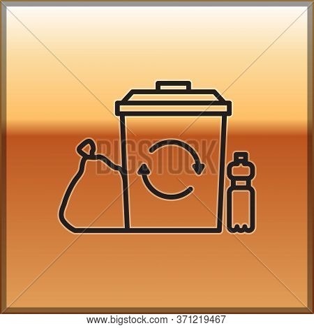 Black Line Recycle Bin With Recycle Symbol Icon Isolated On Gold Background. Trash Can Icon. Garbage
