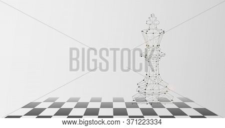 Graphic Image Of King Piece On Chess Board As Symbol Of Authority, Grey Background, Copy Space