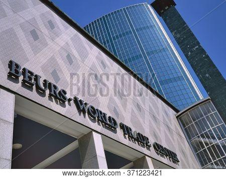 Rotterdam,holland-april 07,2018:entrance Of The World Trade Center Rotterdam, Beurs, Rotterdam