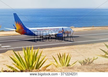 Madeira, Portugal - August 3, 2018: The Plane On The Runway Of Madeira Airport.