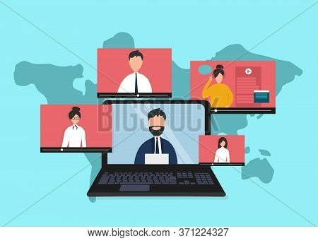 International Communication Concept. People Having Online Discussion, Opinion Exchange Or Video Conf
