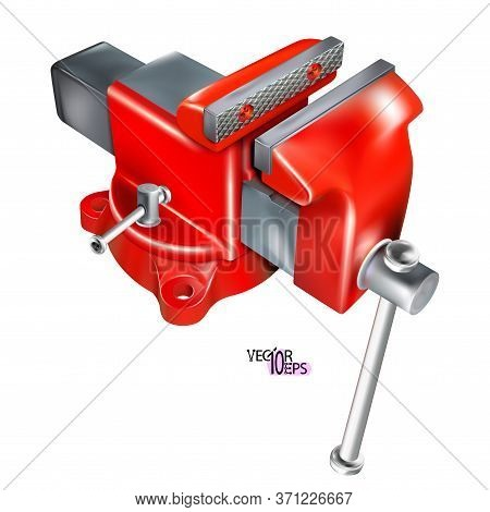 Realistic Heavy Duty Bench Vise On Swivel Base. 3d Metal Red Vice, Metalwork Tool Isolated On White