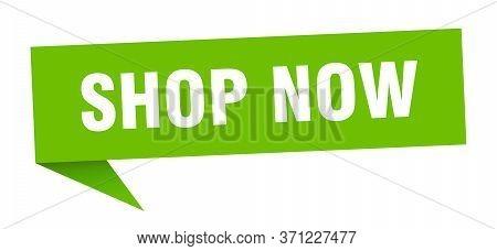 Shop Now Speech Bubble. Shop Now Ribbon Sign. Shop Now Banner
