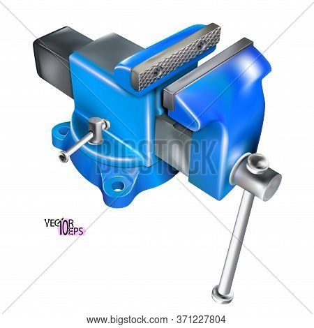 Realistic Heavy Duty Bench Vise On Swivel Base. 3d Metal Blue Vice, Metalwork Tool Isolated On White