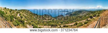 Scenic Landscape View Over The French Riviera Coastline, As Seen From Fort De La Revere, Near The Vi