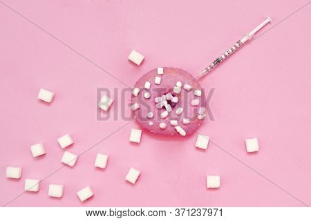 Concept Of Diabetes And Insulin Dependence, Control Of Blood Sugar And Nutrition. Donut, Sugar And I