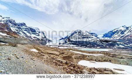 View Of The Columbia Icefields In Jasper National Park, Alberta, Canada At Spring Time. The Famous A