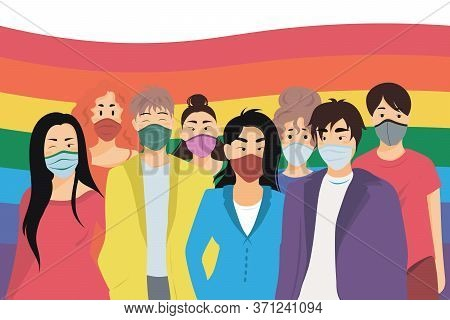 Group Of Homosexuals In Medical Masks With Lgbt Flag Behind Them. Lgbt Parade During Coronavirus Qua