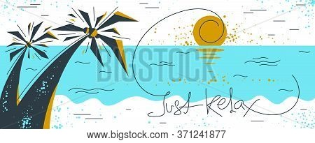 Summer Tropical Beach With Palms Vacations And Holidays Vector Illustration, Relaxation And Rest, Tr