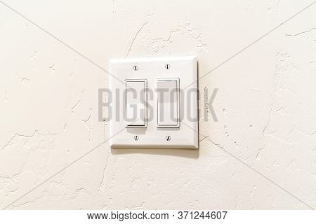 Indoor Multiple Rocker Light Switch With Broad Flat Levers And Cover Plate