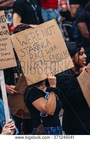 London / Uk - 06/13/2020: Black Lives Matter Protest During Lockdown Coronavirus Pandemic. Hundreds