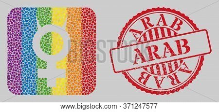 Grunge Arab Seal And Mosaic Devil Female Symbol Subtracted For Lgbt. Dotted Rounded Rectangle Mosaic