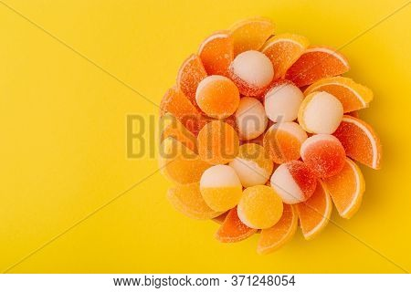 Macro Photo Multi-colored Marmalade Jelly Candys. Dessert Marmalade In The Form Of Lemon And Orange