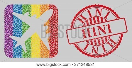 Distress H1n1 Stamp Seal And Mosaic Airplane Stencil For Lgbt. Dotted Rounded Rectangle Mosaic Is Ar