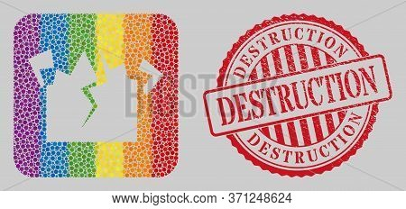 Distress Destruction Watermark And Mosaic Destruction Stencil For Lgbt. Dotted Rounded Rectangle Col