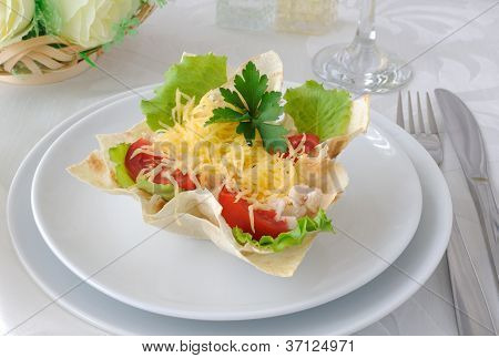 Basket, Stuffed With Chicken, Tomatoes And Cheese