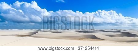Lencois Maranhenses, National Park, Maranhao. Web Banner In Panoramic View.