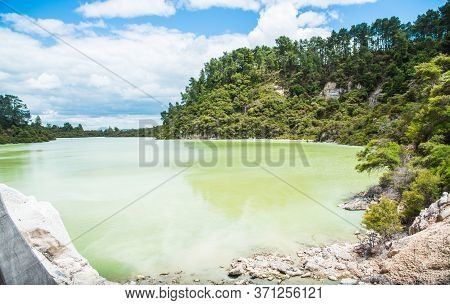 Scenery View Of Lake Ngakoro Waterfall The Beautiful Green Colour Lake At The End Of The Walk Trails