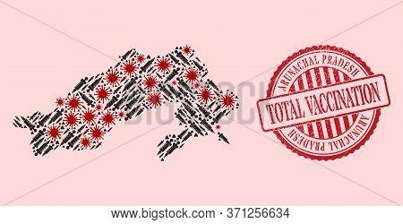 Vector Collage Arunachal Pradesh State Map Of Covid-2019 Virus, Inoculation Icons, And Red Grunge Va