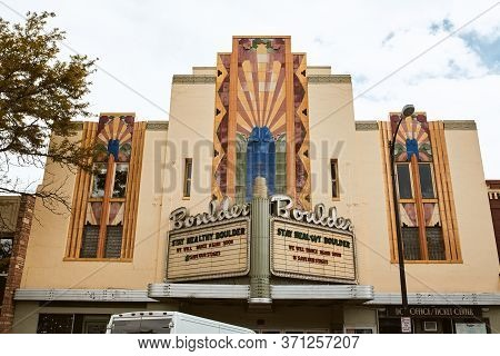 Boulder, Colorado - May 27th, 2020: Marquee And Exterior Of Boulder Theater, Temporarily Closed Due