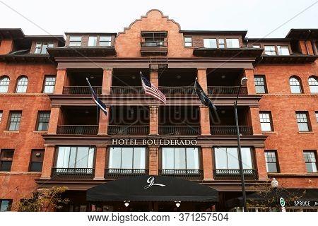Boulder, Colorado - May 27th, 2020:  Exterior Of Hotel Boulderado, Located Near Pearl Street Mall In