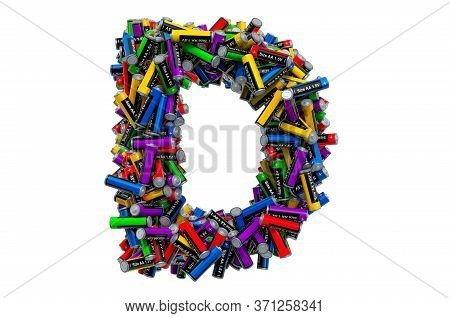 Letter D From Colored Aa Batteries, 3d Rendering Isolated On White Background