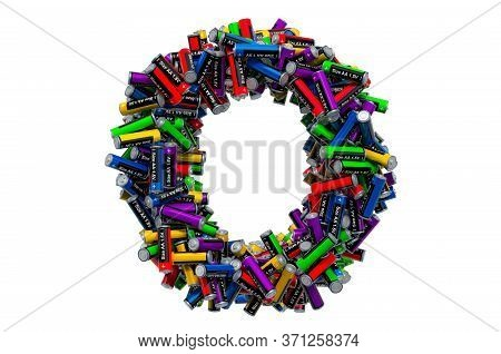Letter O From Colored Aa Batteries, 3d Rendering Isolated On White Background