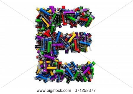 Letter E From Colored Aa Batteries, 3d Rendering Isolated On White Background