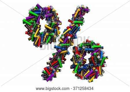 Percent Symbol From Colored Aa Batteries, 3d Rendering Isolated On White Background