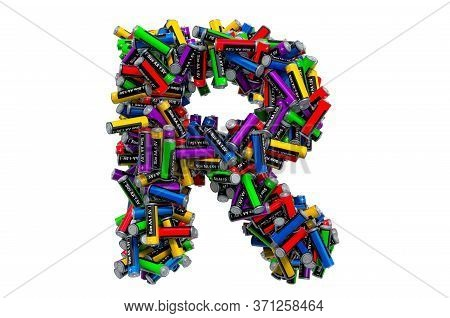Letter R From Colored Aa Batteries, 3d Rendering Isolated On White Background
