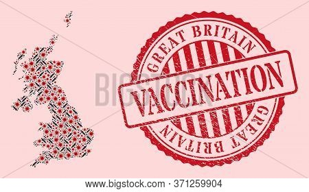 Vector Mosaic United Kingdom Map Of Flu Virus, Vaccination Icons, And Red Grunge Vaccination Seal. V
