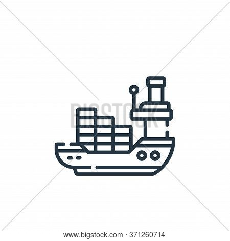 Cargo Ship Vector Icon. Cargo Ship Editable Stroke. Cargo Ship Linear Symbol For Use On Web And Mobi