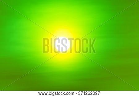 White Bright Sun With Yellow Radius In Green Sky