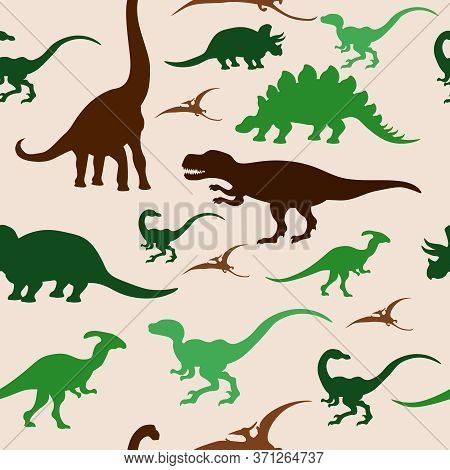 Seamless Pattern With Silhouettes Of Dinosaurs. Vector Illustration On The Topic Of Paleontology.