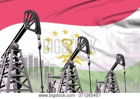 Tajikistan Oil And Petrol Industry Concept, Industrial Illustration On Tajikistan Flag Background. 3