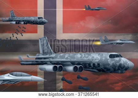 Norway Bomb Air Strike Concept. Modern Norway War Airplanes Bombing On Flag Background. 3d Illustrat