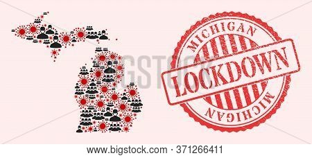 Vector Mosaic Michigan State Map Of Covid-2019 Virus, Masked Men And Red Grunge Lockdown Seal Stamp.