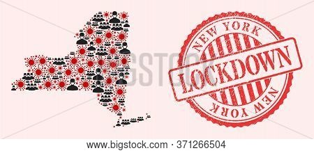 Vector Collage New York State Map Of Sars Virus, Masked People And Red Grunge Lockdown Seal Stamp. V
