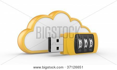 Usb Flash Drive With Combination Lock And Cloud