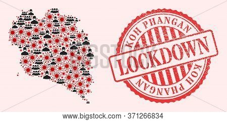 Vector Collage Koh Phangan Map Of Covid-2019 Virus, Masked People And Red Grunge Lockdown Seal. Viru
