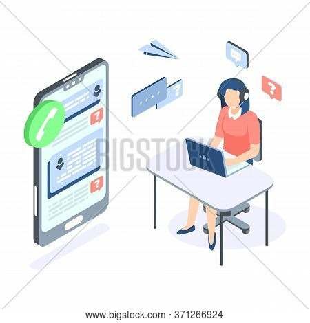 Call Center Isometric Concept. Support Customer Help Web Banner. Vector Illustration Professional Su