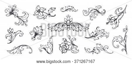 Baroque Ornament. Vintage Floral Border Elements, Engraved Leaves And Frame Filigree Arabesque. Vect