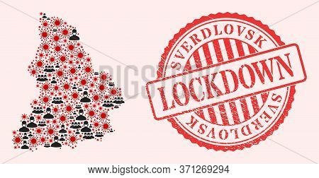 Vector Mosaic Sverdlovsk Region Map Of Corona Virus, Masked Men And Red Grunge Lockdown Seal Stamp.