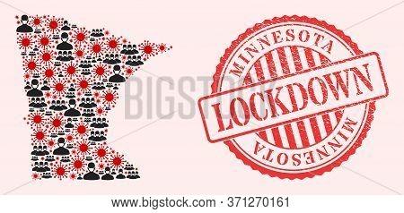 Vector Mosaic Minnesota State Map Of Flu Virus, Masked Men And Red Grunge Lockdown Seal. Virus Eleme