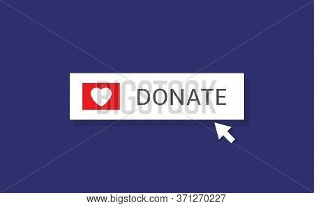 Voluntary And Donation Concept. Donate Button Icon. White Button With White Heart Symbol Onblue Back