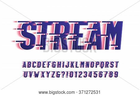 Stream Alphabet Font. Wind Effect Letters And Numbers. White Background. Stock Vector Typescript For
