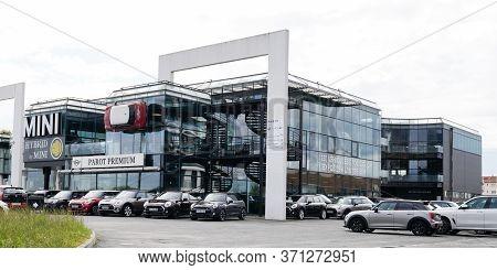 Bordeaux , Aquitaine / France - 10 17 2019 : New Mini Cars Park Outside A Mini Cooper Dealership Dea