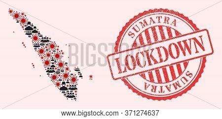 Vector Mosaic Sumatra Map Of Flu Virus, Masked People And Red Grunge Lockdown Seal Stamp. Virus Part
