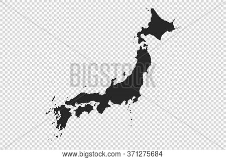 Japan Map With Gray Tone On   Png Or Transparent  Background,illustration,textured , Symbols Of Japa